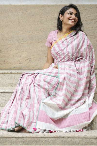 Pink and Green Cotton Saree - noolbyhand.com