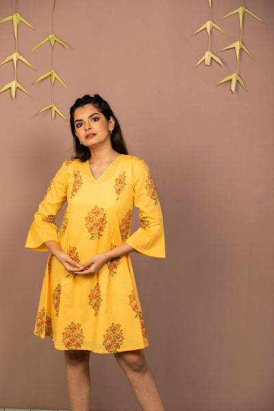 Yellow Cambric Block Printed Dress - noolbyhand.com