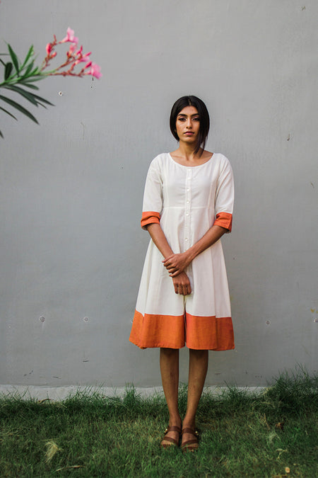 Orange Cotton Kurta With Kalamkari Print