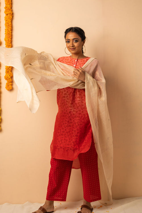 Red Ombre Chanderi Silk Block Printed Kurta with Cotton Pant and Embroidered Tissue Silk Dupatta - Set of 3 - noolbyhand.com