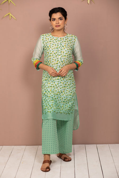 Yellow Ombre Chanderi Silk Block Printed Kurta with Cotton Pant - Set of 2