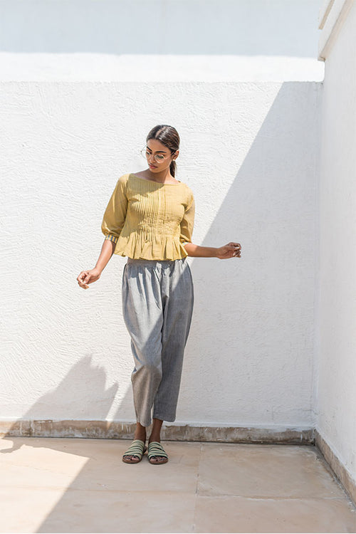 Cardamom pleated olive ruffle top.