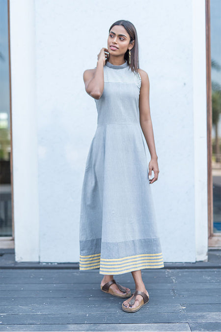 Block Printed Cotton Bias Dress - Indigo