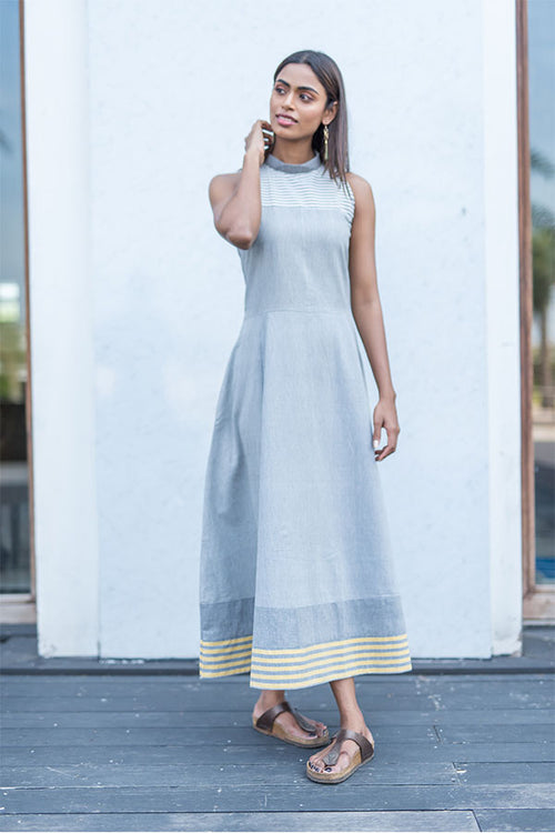 Grey Halter Neck Long Dress - noolbyhand.com