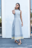 Grey haulter neck long dress. - noolbyhand.com