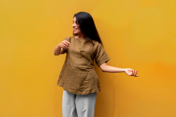 Olive Linen Short Top With Belt - noolbyhand.com