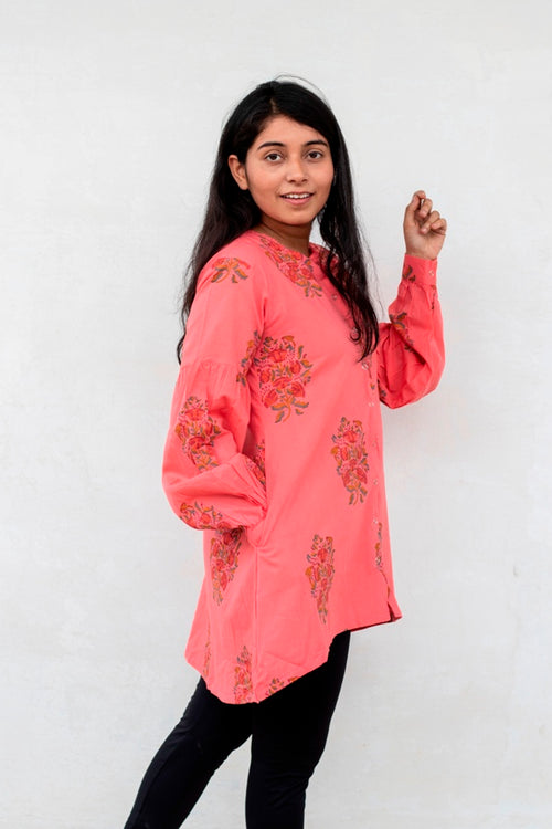 Red Block Printed Cambric Short Kurta - noolbyhand.com