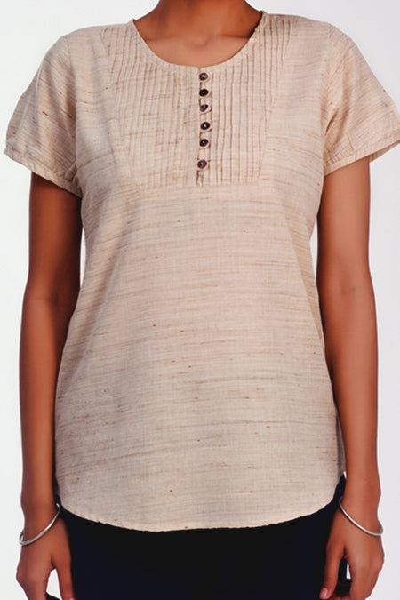 Liz Beige Leaf Print Top