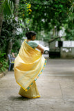 Green and Yellow Saree (Cotton) - noolbyhand.com