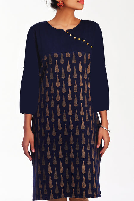 Moksha Denim Gold Print Skirt