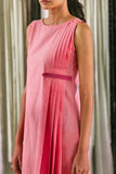 Delphinium - Pink Side Pleated Dress - noolbyhand.com