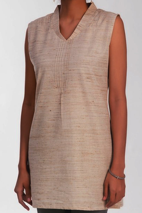 Lorraine Natural - Flax V Neck Tunic - noolbyhand.com
