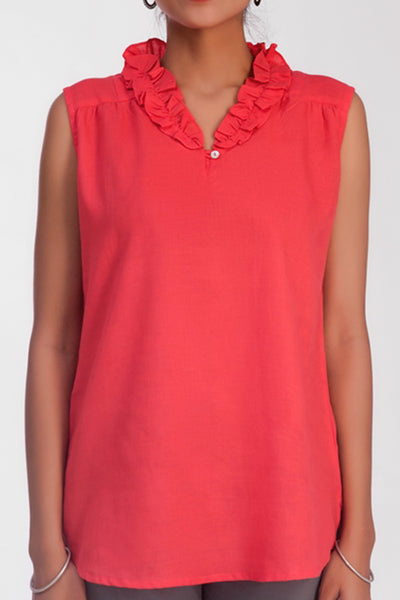 Jessi Salmon - Pink Ruffle Cotton Linen Top