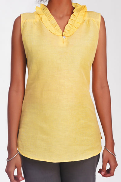 Jessi Cotton Linen Ruffle Yellow Top