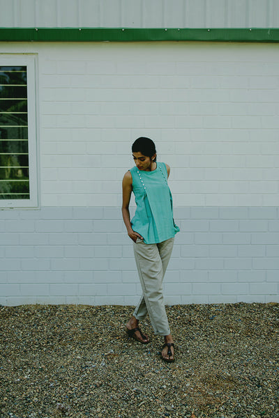 Shikha Blue Button Down Top - noolbyhand.com