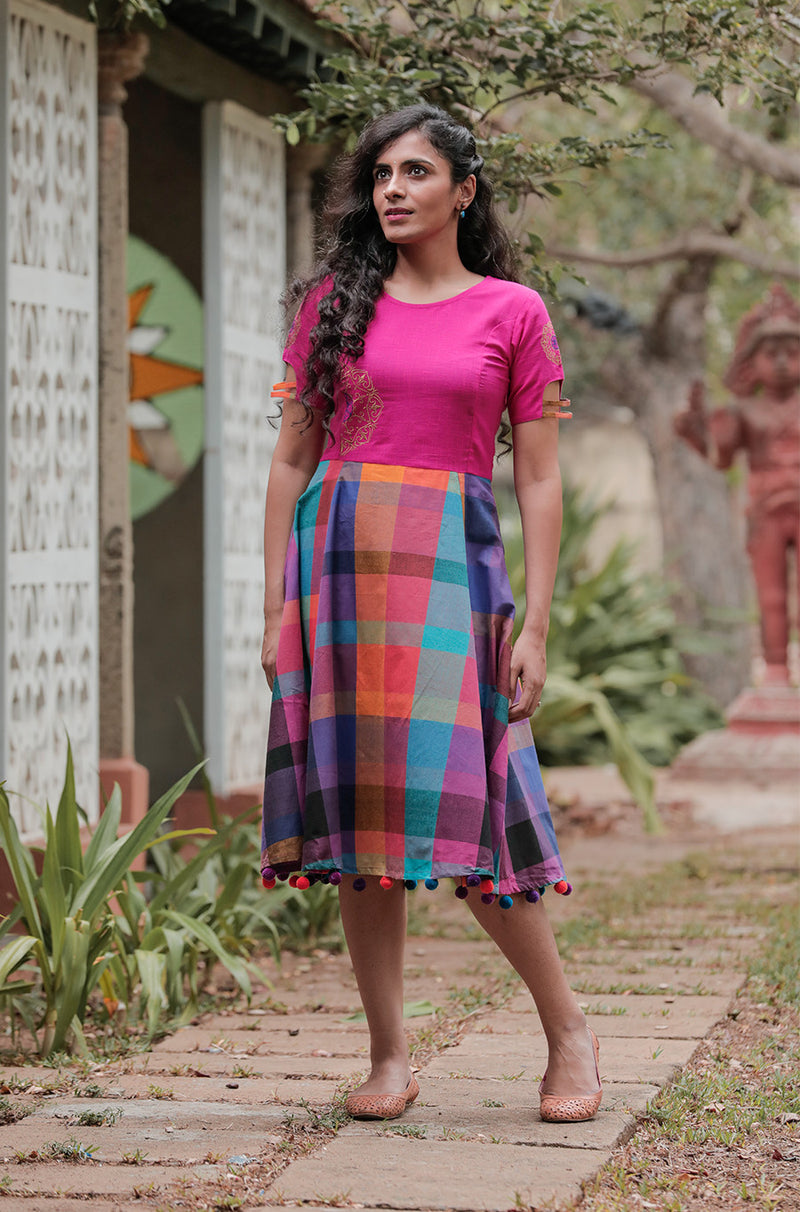 Solid Multi-Colour Checked Dress - noolbyhand.com