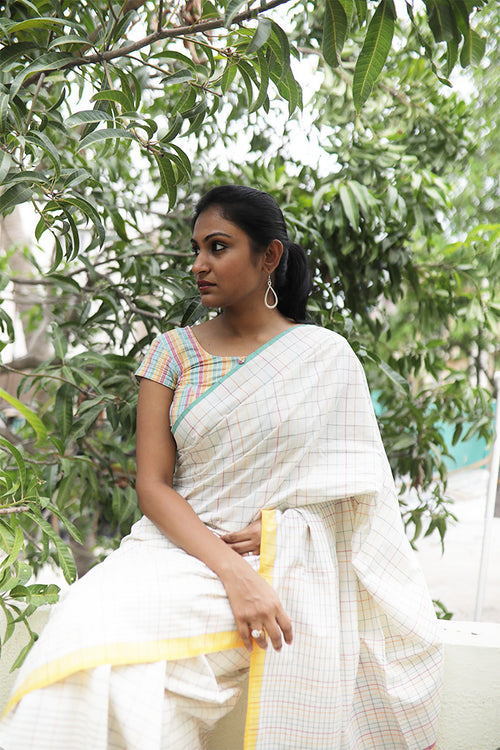 Colourful Checks Saree (Cotton)