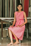 Delphinium - Pink Side Pleated Dress