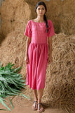 Gardenia - Pink Corded Dress - noolbyhand.com