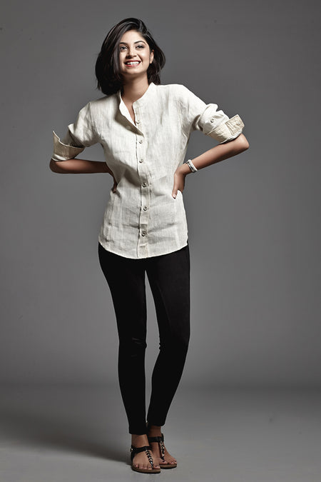 Denim Chinese Collar Shirt