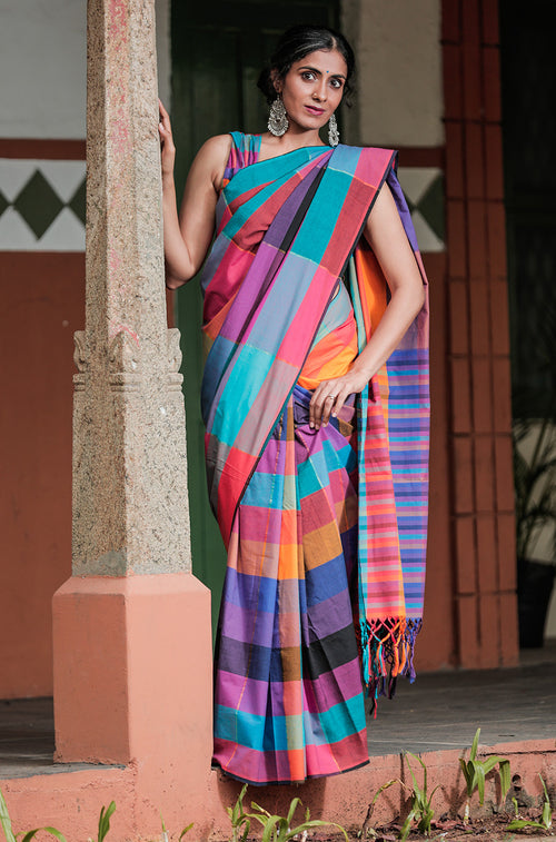 Multi Coloured Check Saree with Blouse - noolbyhand.com
