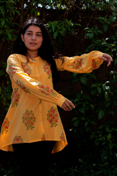 Yellow Block Printed Cambric Short Kurta - noolbyhand.com