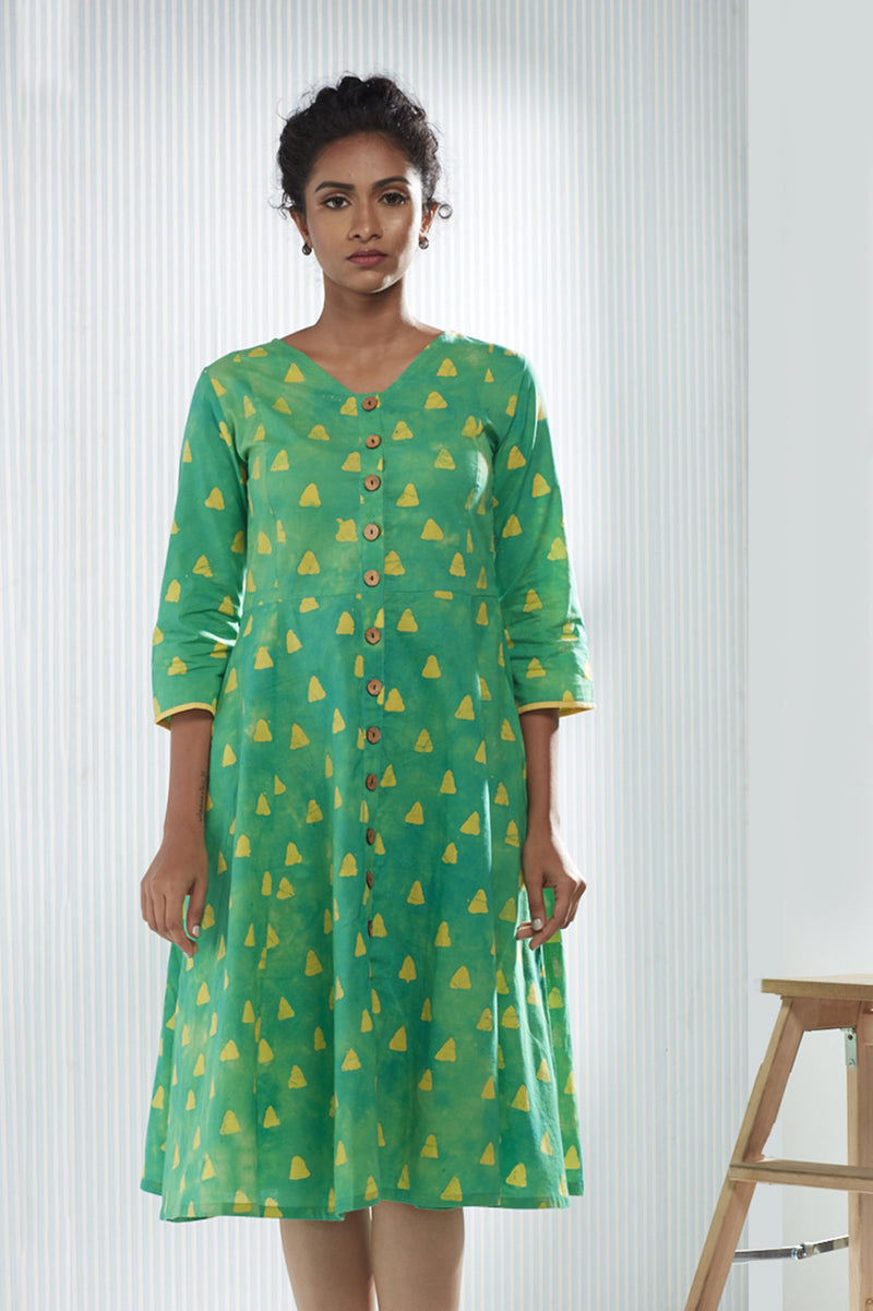 Cotton Triangle Batik Dress - Green & Yellow - noolbyhand.com