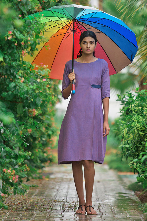 Protea - Violet Side Pleated Dress - noolbyhand.com