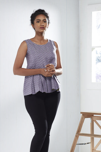 Cotton-Linen Jacquard Pleated Top - Lavender - noolbyhand.com