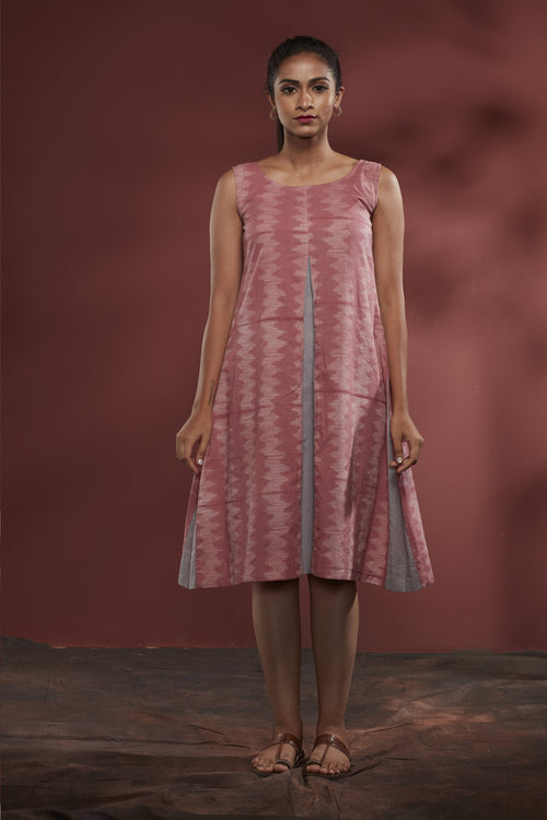 Nui Shibori Cotton Pleated Dress - Rose - noolbyhand.com