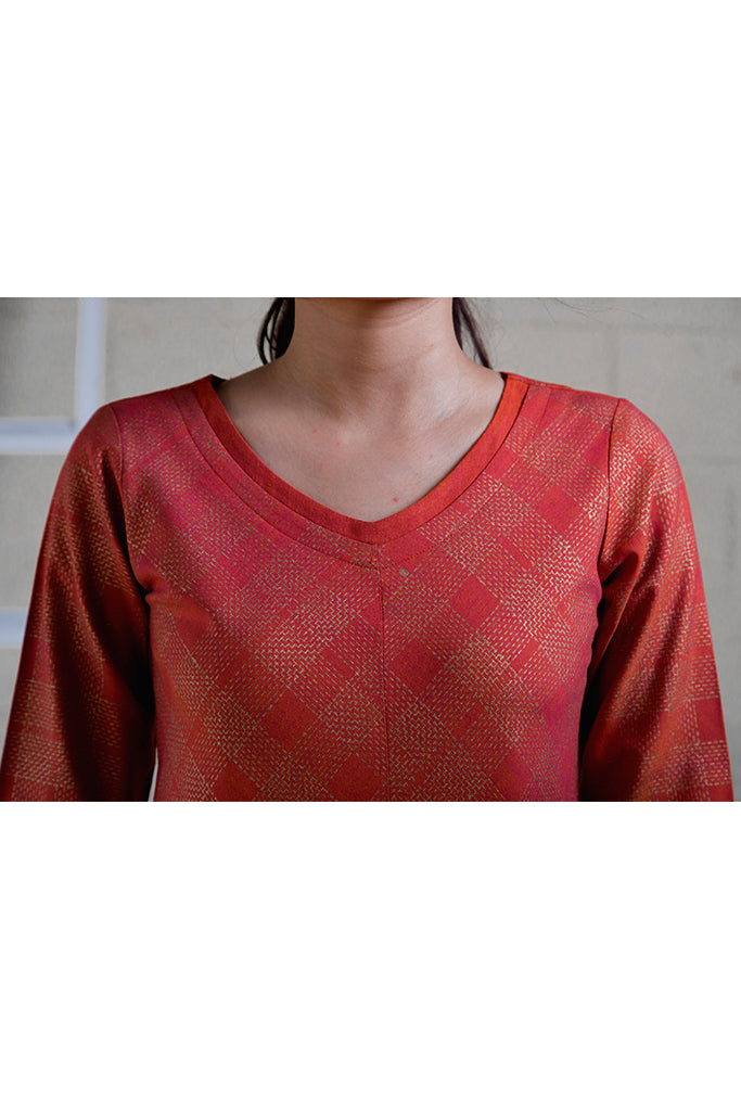 Chandra Red Gold Print Top - noolbyhand.com
