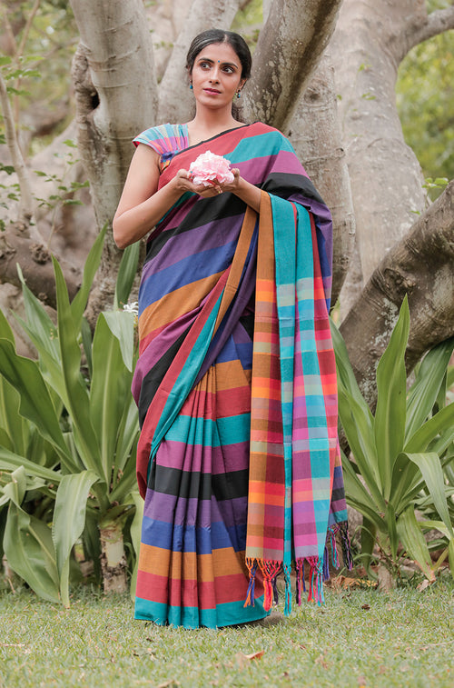 Multi Coloured Stripe Saree with Blouse - noolbyhand.com