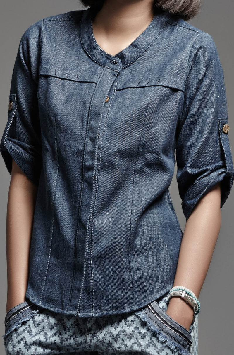 Denim Chinese Collar Shirt - noolbyhand.com