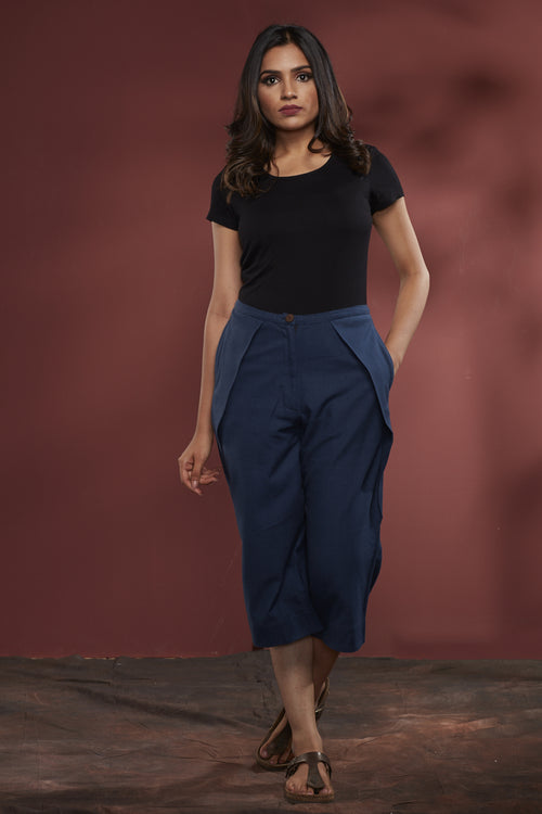 Cotton Alpha Denim Crop Pant - Indigo