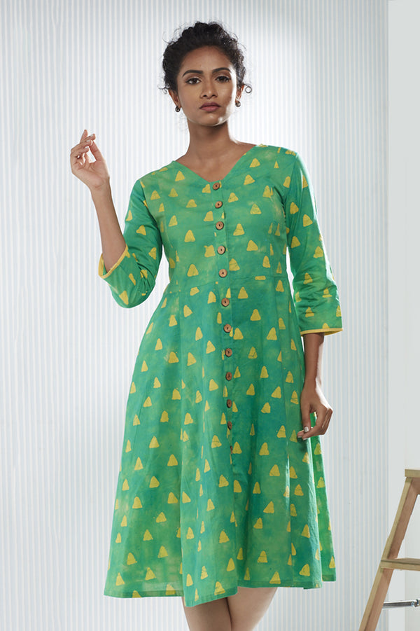 Cotton Triangle Batik Dress - Green and Yellow - noolbyhand.com