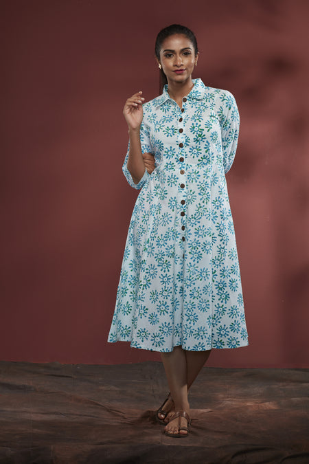 Teal Cotton Chambray Embroidered Dress