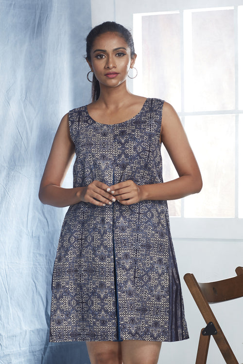 Block Printed Cotton Pleated Dress - Indigo - noolbyhand.com