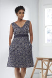 Block Printed Cotton Bias Dress - Indigo - noolbyhand.com