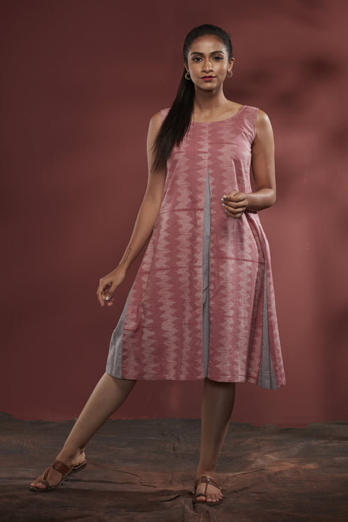 Nui Shibori Cotton Pleated Dress - Rose
