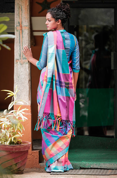 Multi Coloured Check + Stripe Saree with Blouse - noolbyhand.com