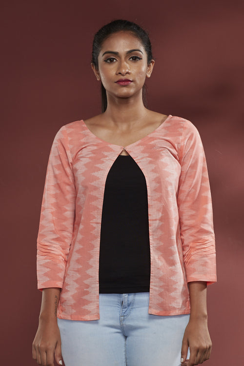 Nui Shibori Cotton Batwing Jacket - Peach
