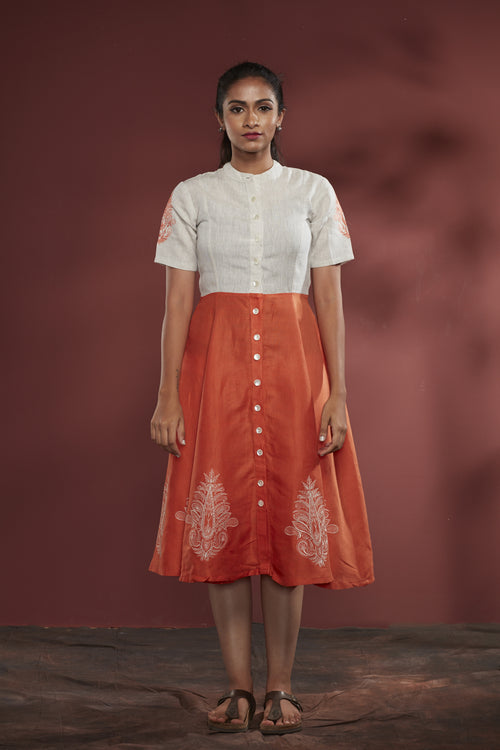 Embroidered Cotton-Linen Dress - Orange - noolbyhand.com