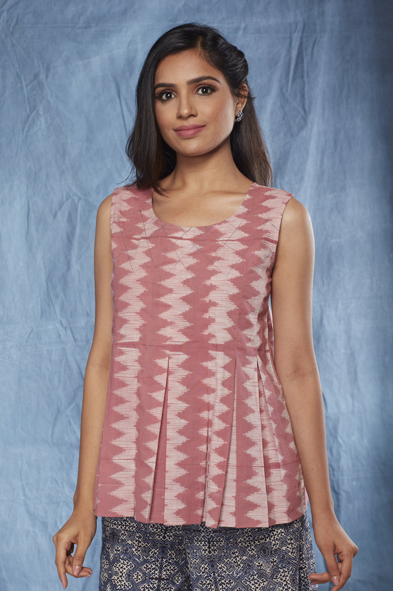 Nui Shibori Cotton Pleated Top-Rose - noolbyhand.com