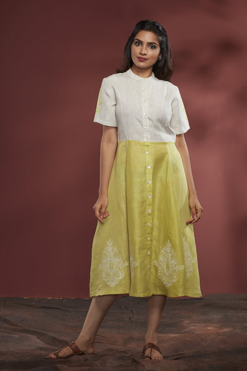 Embroidered Cotton-Linen Dress - Green