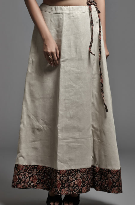 Embroidered Cotton-Linen Dress - Orange