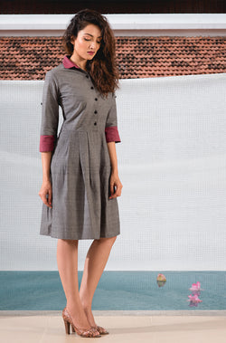 Grey and Maroon Dress - noolbyhand.com