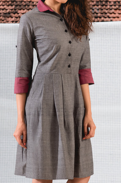 Grey and Maroon Kurti - noolbyhand.com