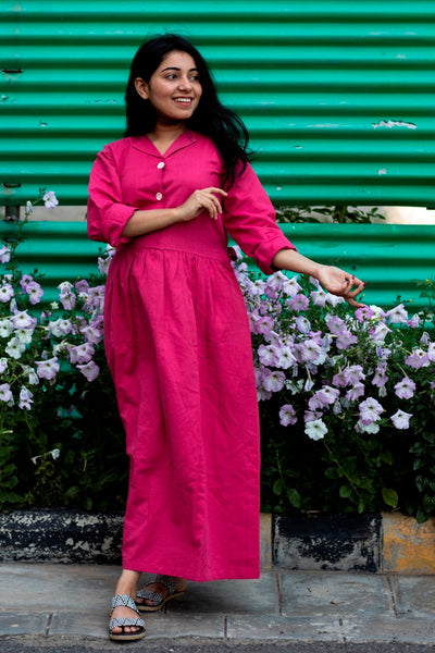 Pink Linen Long Dress With Belt - noolbyhand.com