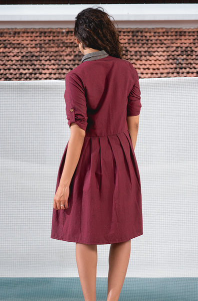Maroon and Grey Dress