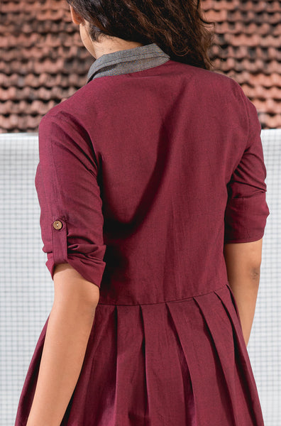 Maroon and Grey Dress - noolbyhand.com